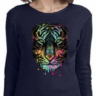 Dripping Neon Tiger Ladies Long Sleeve Shirt