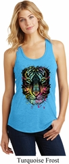 Dripping Neon Tiger Ladies Racerback Tank Top