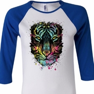 Dripping Neon Tiger Ladies Raglan Shirt