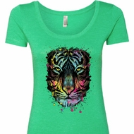 Dripping Neon Tiger Ladies Scoop Neck Shirt