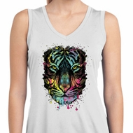 Dripping Neon Tiger Ladies Sleeveless Moisture Wicking Shirt