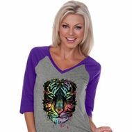 Dripping Neon Tiger Ladies Three Quarter Sleeve V-Neck Raglan Shirt