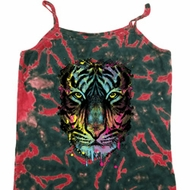Dripping Neon Tiger Ladies Tie Dye Camisole Tank Top