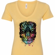 Dripping Neon Tiger Ladies V-Neck Shirt