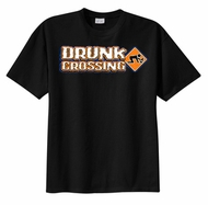 Drunk Crossing Funny Drinking Sign T-shirt Tee Shirt