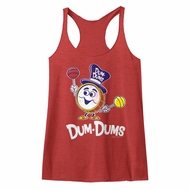 Dum Dums Juniors Tank Top Drum Man Red Heather Racerback
