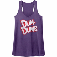 Dum Dums Juniors Tank Top Logo Purple Heather Racerback