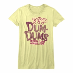 Dum Dums Shirt Juniors Mystery Flavor Yellow T-Shirt