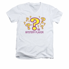 Dum Dums Shirt Slim Fit V-Neck Mystery Flavor White T-Shirt