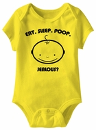 Eat Sleep Poop Jealous? Funny Baby Romper Yellow Infant Babies Creeper