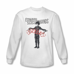 Edward Scissorhands Shirt Show & Tell Long Sleeve White Tee T-Shirt