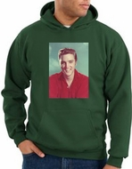 Elvis Hoodie Classic Rock King Red Headshot Hoody Dark Green