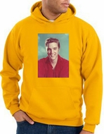 Elvis Hoodie Classic Rock King Red Headshot Hoody Gold