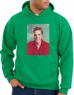 Elvis Hoodie Classic Rock King Red Headshot Hoody Kelly Green