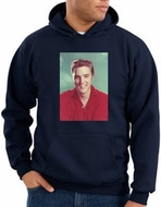 Elvis Hoodie Classic Rock King Red Headshot Hoody Navy