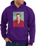 Elvis Hoodie Classic Rock King Red Headshot Hoody Purple