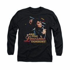 Elvis Presley Shirt Are You Lonesome Long Sleeve Black Tee T-Shirt