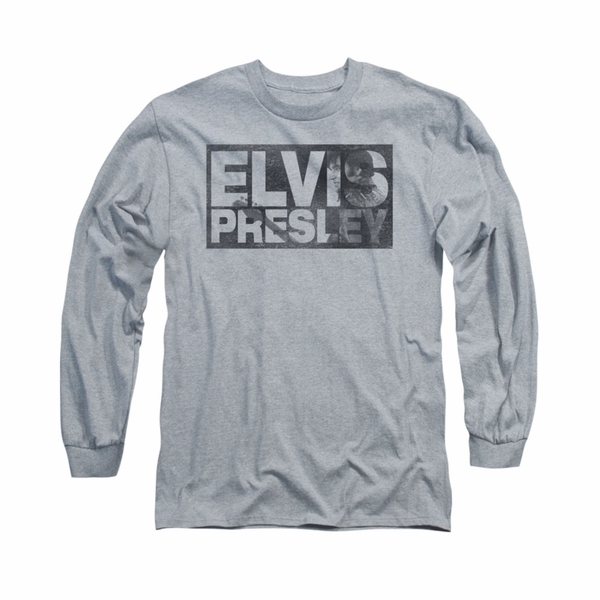 d07dba07794a Elvis Presley Shirt Block Letters Long Sleeve Athletic Heather Tee T ...