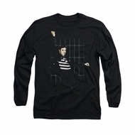 Elvis Presley Shirt Blue Bars Long Sleeve Black Tee T-Shirt