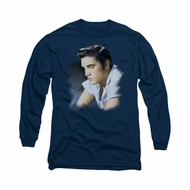 Elvis Presley Shirt Blue Profile Long Sleeve Navy Tee T-Shirt