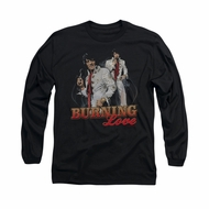Elvis Presley Shirt Burning Love Long Sleeve Black Tee T-Shirt