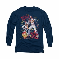 Elvis Presley Shirt Eagle Long Sleeve Navy Tee T-Shirt