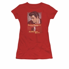 Elvis Presley Shirt Juniors Jailhouse Rocker Poster Red T-Shirt