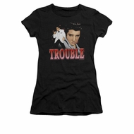 Elvis Presley Shirt Juniors Trouble In A White Suit Black T-Shirt