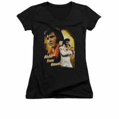 Elvis Presley Shirt Juniors V Neck Aloha Sing It Black T-Shirt