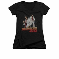 Elvis Presley Shirt Juniors V Neck Burning Love Black T-Shirt