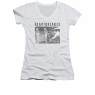 Elvis Presley Shirt Juniors V Neck Heartbreaker White T-Shirt