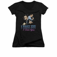 Elvis Presley Shirt Juniors V Neck I Want You Black T-Shirt