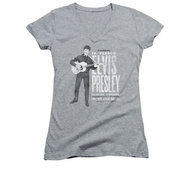 Elvis Presley Shirt Juniors V Neck In Person Athletic Heather T-Shirt
