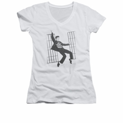 Elvis Presley Shirt Juniors V Neck Jailhouse Rock White T-Shirt