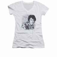 Elvis Presley Shirt Juniors V Neck Lonesome Tonight White T-Shirt