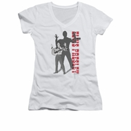Elvis Presley Shirt Juniors V Neck Look No Hands White T-Shirt
