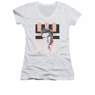 Elvis Presley Shirt Juniors V Neck Retro White T-Shirt