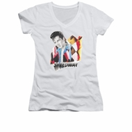 Elvis Presley Shirt Juniors V Neck Speedway White T-Shirt