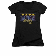 Elvis Presley Shirt Juniors V Neck Viva Las Vegas Black T-Shirt