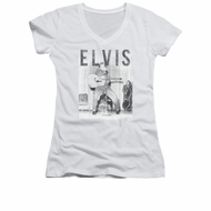 Elvis Presley Shirt Juniors V Neck With The Band White T-Shirt
