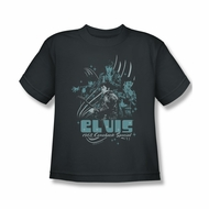 Elvis Presley Shirt Kids 68 Leather Charcoal T-Shirt