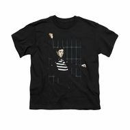 Elvis Presley Shirt Kids Blue Bars Black T-Shirt