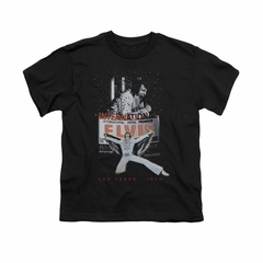 Elvis Presley Shirt Kids Las Vegas 1970 Black T-Shirt