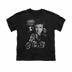 Elvis Presley Shirt Kids Rides Again Black T-Shirt