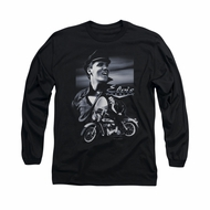 Elvis Presley Shirt Motorcycle Long Sleeve Black Tee T-Shirt