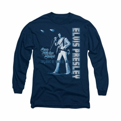 Elvis Presley Shirt One Night Only Long Sleeve Navy Tee T-Shirt