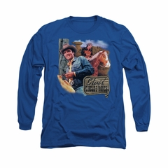 Elvis Presley Shirt Ranch Long Sleeve Royal Blue Tee T-Shirt