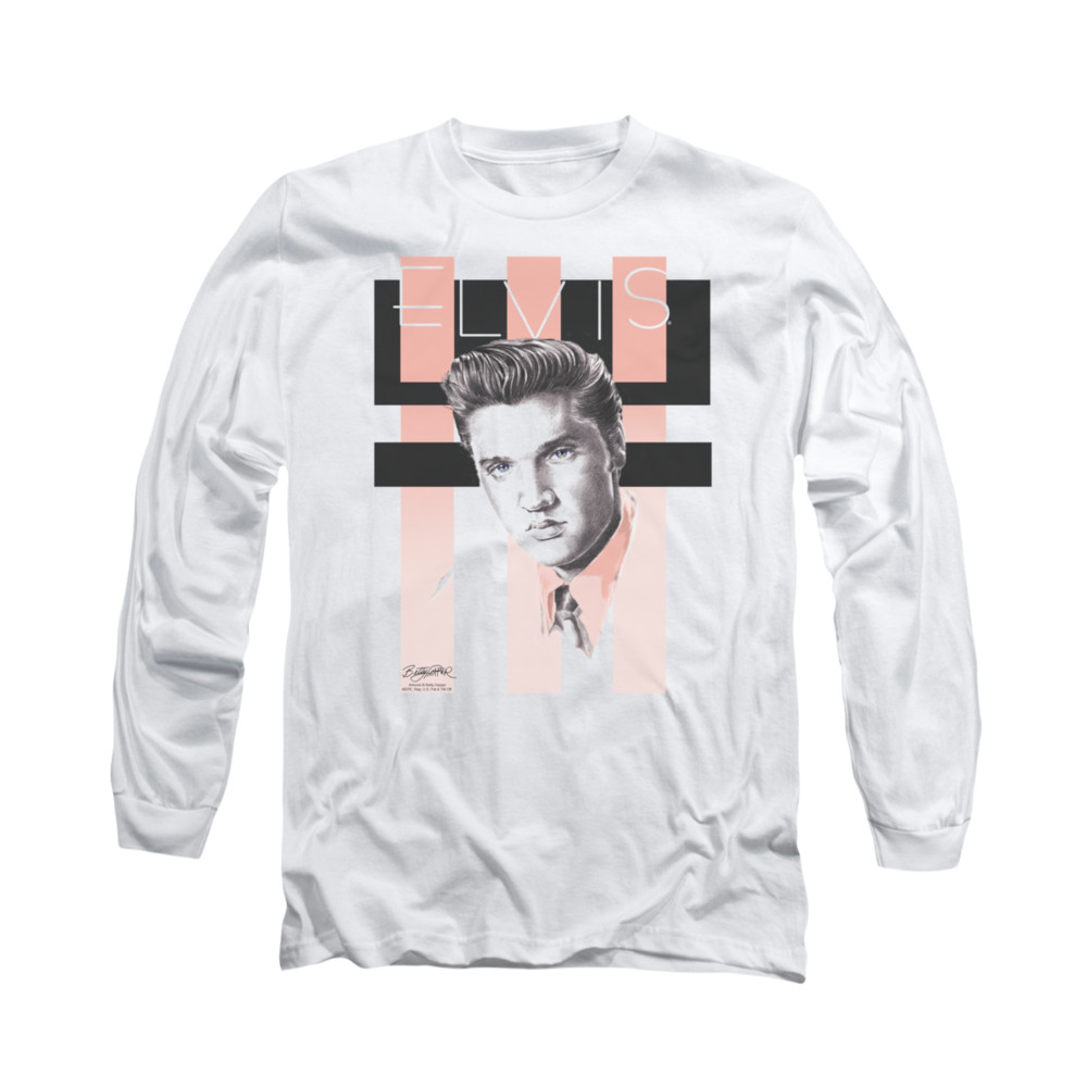 Elvis presley shirt retro long sleeve white tee t shirt for Retro long sleeve t shirts