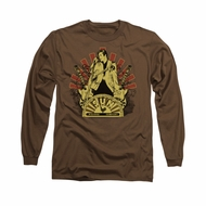 Elvis Presley Shirt Rising Long Sleeve Brown Tee T-Shirt