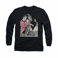 Elvis Presley Shirt Rock N Roll Smoke Long Sleeve Black Tee T-Shirt